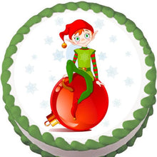 Load image into Gallery viewer, Ornament Elf Christmas Edible Cake, Cupcake & Cookie Topper - Trish Gayle