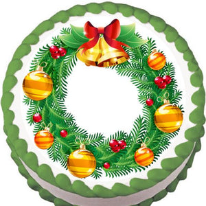 Red and Gold Christmas Wreath Edible Cake, Cupcake & Cookie Topper - Trish Gayle