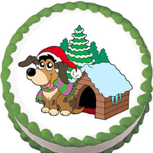 Load image into Gallery viewer, Doggie Christmas Edible Cake, Cupcake & Cookie Topper - Trish Gayle
