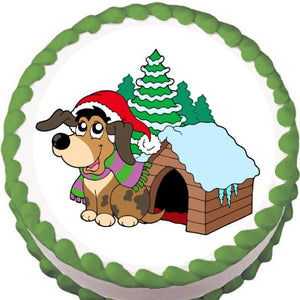 Doggie Christmas Edible Cake, Cupcake & Cookie Topper - Trish Gayle