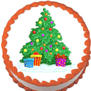 Cartoon Christmas Tree Edible Cake, Cupcake & Cookie Topper - Trish Gayle