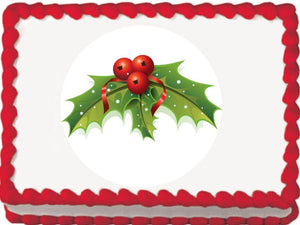 Christmas Holly and Berries Tree Edible Cake, Cupcake & Cookie Topper - Trish Gayle
