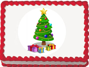 Presents around the Tree Christmas Edible Cake, Cupcake & Cookie Topper - Trish Gayle