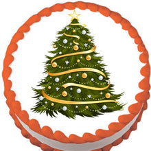 Load image into Gallery viewer, Gold Garland Christmas Tree Edible Cake, Cupcake & Cookie Topper - Trish Gayle