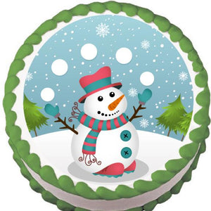 Juggling Snowman Christmas Edible Cake, Cupcake & Cookie Topper - Trish Gayle