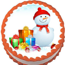 Load image into Gallery viewer, Snowman & Presents Christmas Edible Cake, Cupcake & Cookie Topper - Trish Gayle
