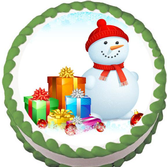 Snowman & Presents Christmas Edible Cake, Cupcake & Cookie Topper - Trish Gayle
