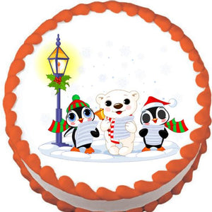 Lamplight Carollers Christmas Edible Cake, Cupcake & Cookie Topper - Trish Gayle