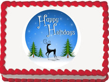 Load image into Gallery viewer, Reindeer Holiday Blue Edible Cake, Cupcake & Cookie Topper - Trish Gayle