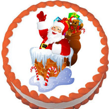 Load image into Gallery viewer, Santa in the Chimney Christmas Edible Cake, Cupcake & Cookie Topper - Trish Gayle