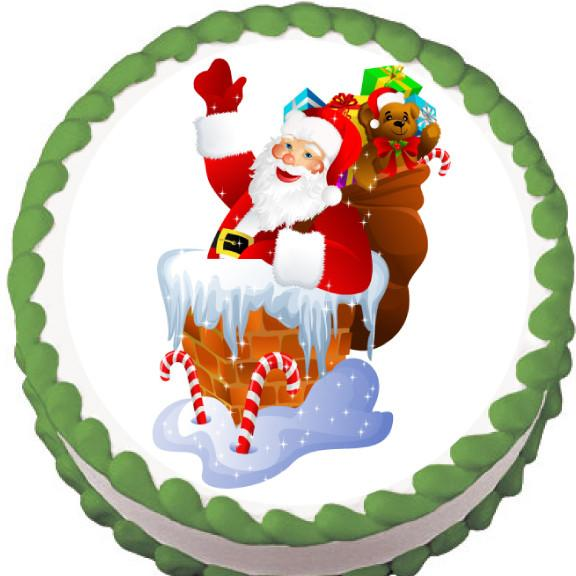 Santa in the Chimney Christmas Edible Cake, Cupcake & Cookie Topper - Trish Gayle