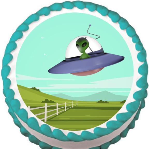 Alien Flying over Field Edible Cake, Cupcake & Cookie Topper - Trish Gayle