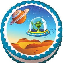 Load image into Gallery viewer, Alien Greetings Edible Cake, Cupcake & Cookie Topper - Trish Gayle