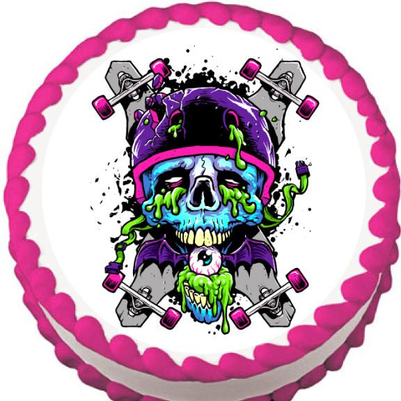 Skateboard Zombie Edible Cake, Cupcake & Cookie Topper - Trish Gayle