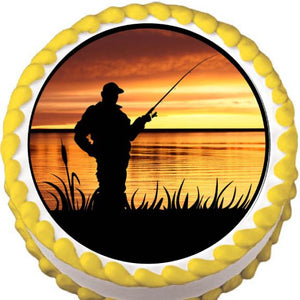 Sunrise Fishing Edible Cake, Cupcake & Cookie Topper - Trish Gayle