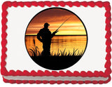 Sunrise Fishing Edible Cake, Cupcake & Cookie Topper
