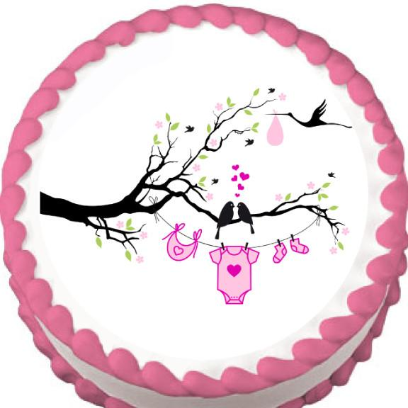 Love Birds Girl Baby Shower Edible Cake, Cupcake & Cookie Topper - Trish Gayle