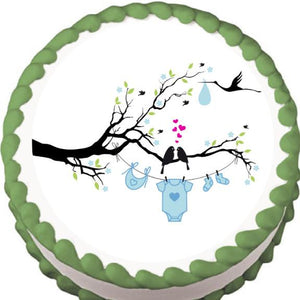 Love Birds Boy Baby Shower Edible Cake, Cupcake & Cookie Topper - Trish Gayle