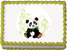 Load image into Gallery viewer, Panda and Bamboo Edible Cake, Cupcake & Cookie Topper - Trish Gayle