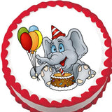 Elephant Birthday Party Edible Cake, Cupcake & Cookie Topper - Trish Gayle