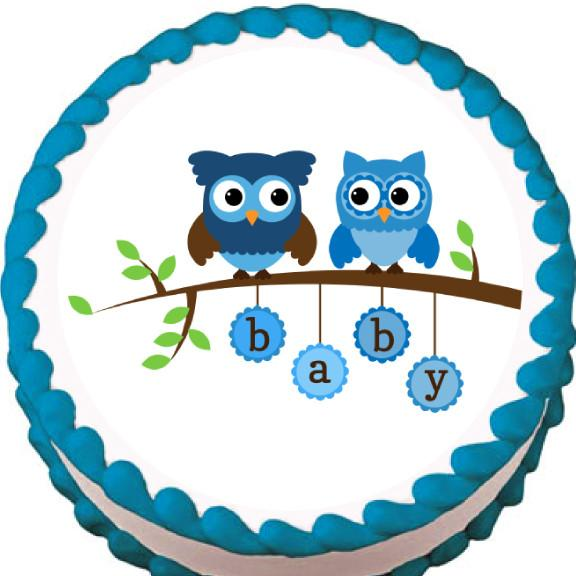 Blue Owls on a Branch Baby Shower Edible Cake, Cupcake & Cookie Topper - Trish Gayle