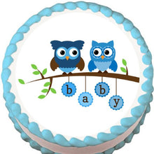 Load image into Gallery viewer, Blue Owls on a Branch Baby Shower Edible Cake, Cupcake & Cookie Topper - Trish Gayle