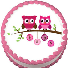 Load image into Gallery viewer, Pink Owls on a Branch Baby Shower Edible Cake, Cupcake & Cookie Topper - Trish Gayle