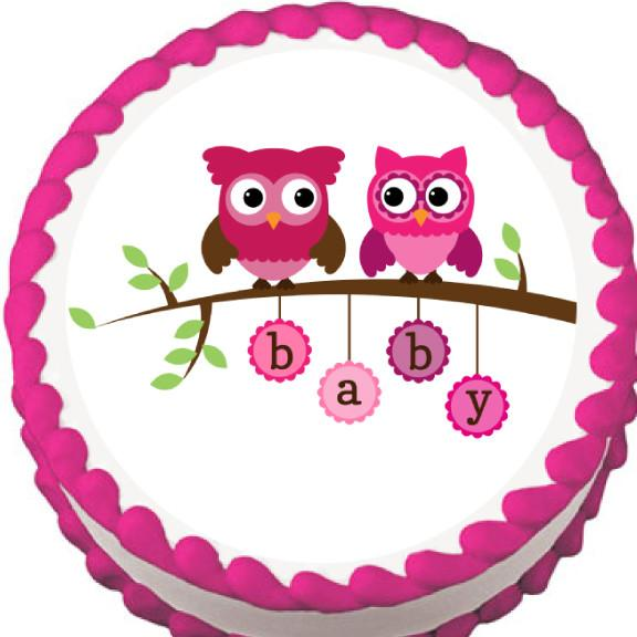 Pink Owls on a Branch Baby Shower Edible Cake, Cupcake & Cookie Topper - Trish Gayle