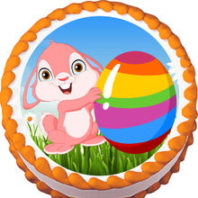 Load image into Gallery viewer, Easter Bunny with Striped Egg Edible Cake, Cupcake & Cookie Topper - Trish Gayle