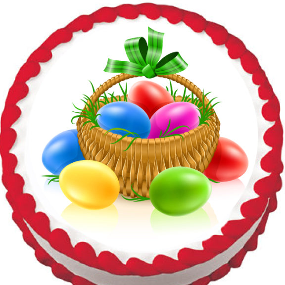 Easter Egg Basket Edible Cake, Cupcake & Cookie Topper - Trish Gayle
