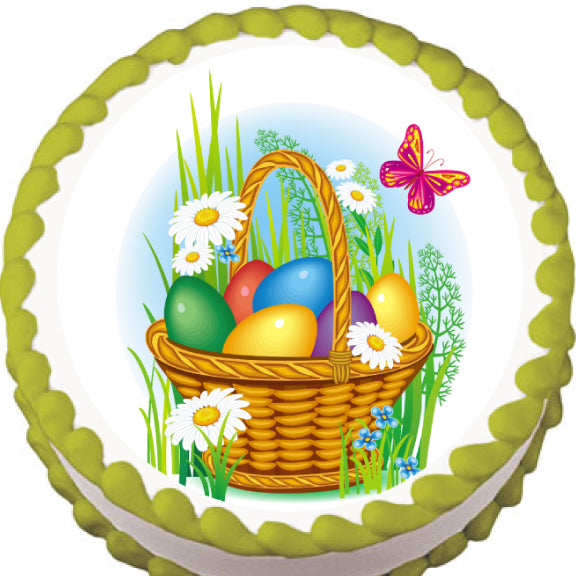 Easter Basket and Butterflies Edible Cake, Cupcake & Cookie Topper - Trish Gayle