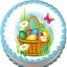 Load image into Gallery viewer, Easter Basket and Butterflies Edible Cake, Cupcake & Cookie Topper - Trish Gayle