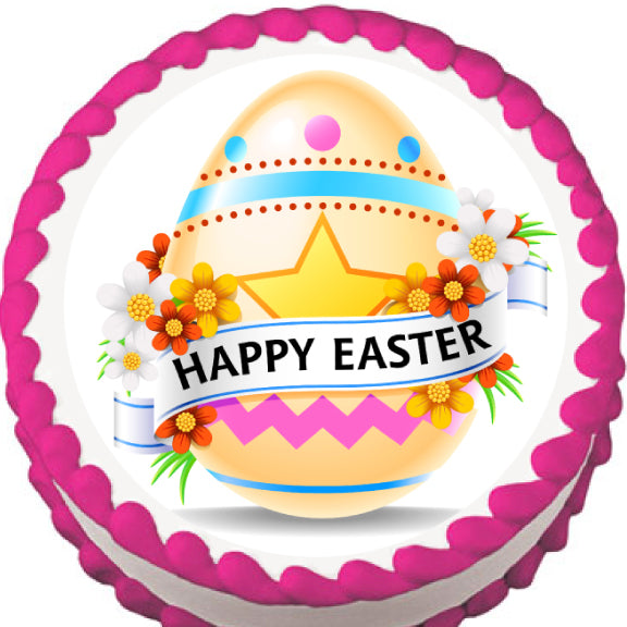Happy Easter Egg Edible Cake, Cupcake & Cookie Topper - Trish Gayle