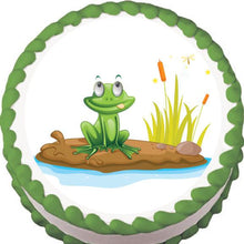 Load image into Gallery viewer, Frog by a Pond Edible Cake, Cupcake & Cookie Topper - Trish Gayle