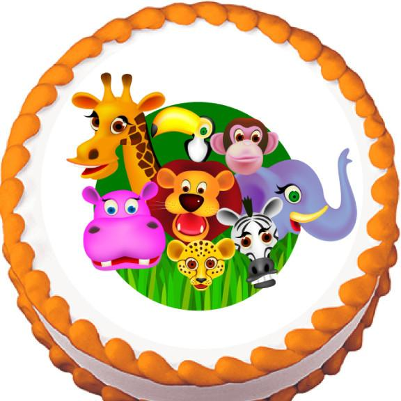 Jungle Animals Edible Cake, Cupcake & Cookie Topper - Trish Gayle