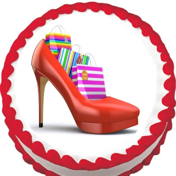 Shoes and Shopping Edible Cake, Cupcake & Cookie Topper