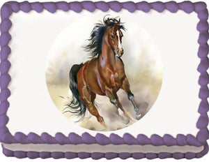Wild Horse Running Edible Cake, Cupcake & Cookie Topper - Trish Gayle