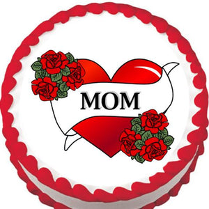 Love Mom Banner Edible Cake, Cupcake & Cookie Topper - Trish Gayle
