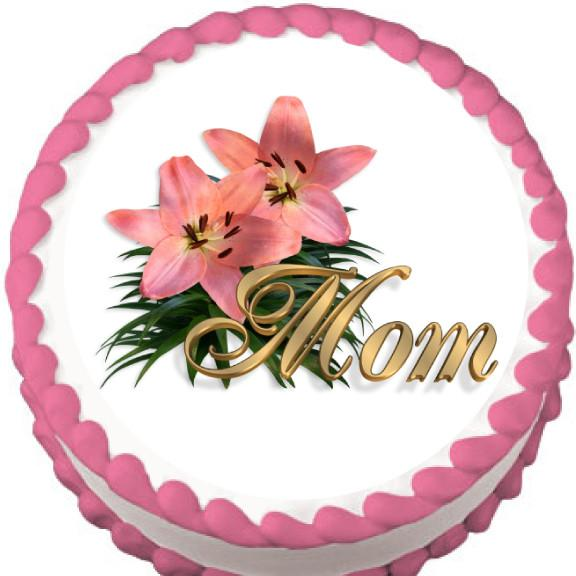 Mom and Flowers Edible Cake, Cupcake & Cookie Topper - Trish Gayle