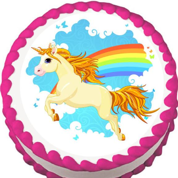 Unicorn and Rainbow Edible Cake, Cupcake & Cookie Topper - Trish Gayle