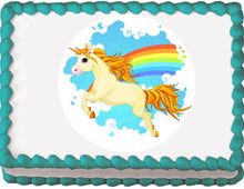 Load image into Gallery viewer, Unicorn and Rainbow Edible Cake, Cupcake & Cookie Topper