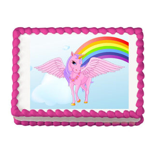 Pink Unicorn and Rainbow Edible Cake, Cupcake & Cookie Topper - Trish Gayle