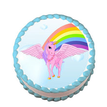 Load image into Gallery viewer, Pink Unicorn and Rainbow Edible Cake, Cupcake & Cookie Topper - Trish Gayle