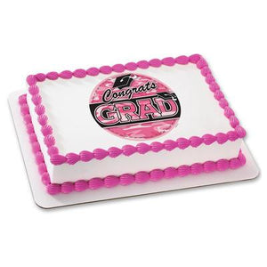 Grad Pink Camo Edible Cake, Cupcake & Cookie Topper - Trish Gayle