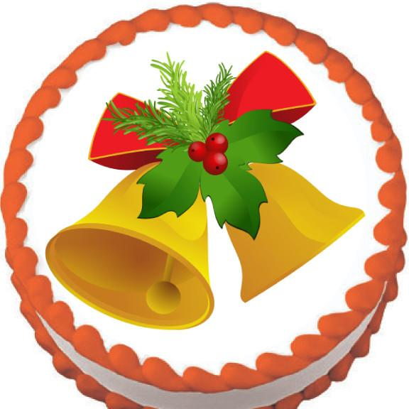 Golden Bell Christmas Edible Cake, Cupcake & Cookie Topper - Trish Gayle