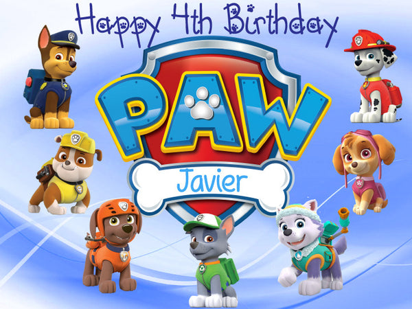 Paw Patrol Characters Blue Edible Cake Topper - Trish Gayle
