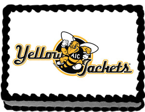 AIC Yellow Jackets Edible Cake, Cupcake & Cookie Topper - Trish Gayle