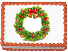 Load image into Gallery viewer, Christmas Bell Wreath Edible Cake, Cupcake & Cookie Topper - Trish Gayle