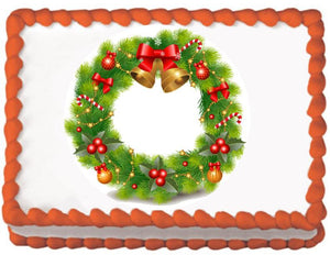 Christmas Bell Wreath Edible Cake, Cupcake & Cookie Topper - Trish Gayle