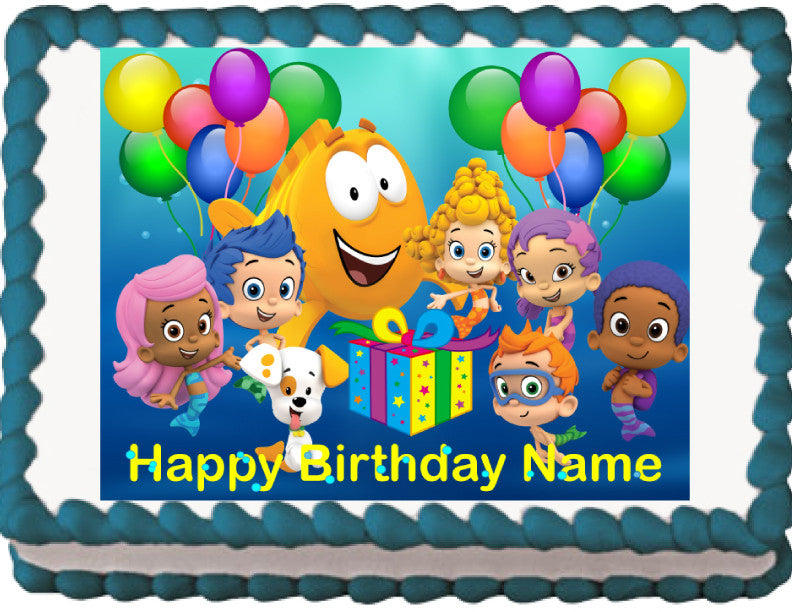 Prime Bubble Guppies Personalized Edible Image Cake Topper Birthday Birthday Cards Printable Trancafe Filternl